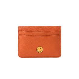 Pegatinas cara de mujer online-Las mujeres de cuero genuino delgado titular de la tarjeta de identificación pegatina tarjeta de visita de moda cartera de piel de oveja caso casual sonrisa cara billetera