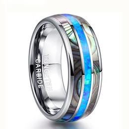Синие стальные украшения онлайн-8 мм широкий инкрустированные раковины синий опал вольфрама стали мужчины кольца никогда не исчезают обручальное кольцо мужские ювелирные изделия размер 6-13