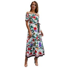 Femmes Casual Dress Eté Floral élégant Print Slash Neck Dress Fashion Robes Sexy Party Party femmes ? partir de fabricateur