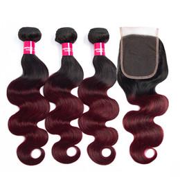 Cheveux à deux tons en Ligne-Deux tons Ombre 1B 99J vague de corps de cheveux brésiliens avec fermeture 4X4 Bourgogne Ombre fermeture de dentelle avec des faisceaux de cheveux
