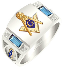 anelli massonici Sconti Anello da uomo in acciaio inossidabile 316L con taglio quadrato Anello in oro con placcatura in argento Anello massonico formato USA 7-14