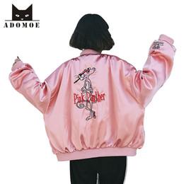 2019 giacca di raso rosa delle ragazze Giacca da baseball primavera nuova moda coreana donna donne giacche autunno femminile Harajuku ragazza pantera rosa ricamo cartone animato in raso giacca di raso rosa delle ragazze economici