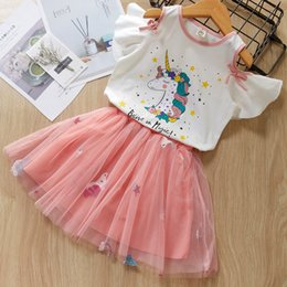 a07e39c77a baby girls unicorn clothing set short sleeve blouse T-shirt+tutu layers  skirts cute lovely girls suit children kids summer outfits