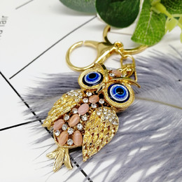 pingente coruja chaveiro Desconto 5 pçs / lote mais novo linda coruja chaveiro strass cristal chaveiro anel cadeia saco charme pingente de presente