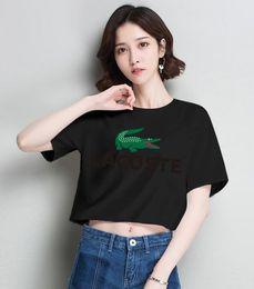 2019 marcas t shirt francês Marca de crocodilo francês Designer Mulheres camisa de mangas curtas de algodão T camisas para mulher fino estilo casual das mulheres gola Redonda Camisetas Respiráveis marcas t shirt francês barato