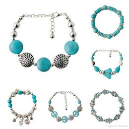 Encantos em forma de mão on-line-Pulseiras de charme Doce Bohemia elegante mão brilhante forma Turquesa Beads charme Pulseira Acessórios Artesanais Pulseira de Contas