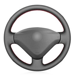 Ruedas de citroen online-Negro de la PU de imitación de piel cubierta de la rueda del coche para Peugeot 207 socio experto Citroen Berlingo Jumpy Fiat Scudo Proace