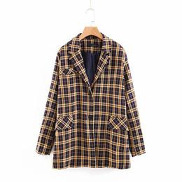 Blazer scozzesi vintage da donna Fidanzato oversize Casual Giacche da donna Maniche lunghe sciolte Tute Blazer colletto con intaglio da
