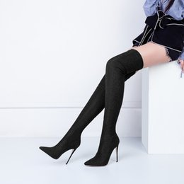 75cf9ba8d ZK Womens shoes 12cm high heels boots over knee Stretch Satin boots china  size34--45