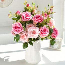 Розовый большой букет онлайн-65см длинная ветка 3 головки розы большие искусственные цветы белый розовый шелк большой поддельный цветок бутоны роз букет из искусственных цветов ткани