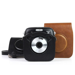 camera pouches Promo Codes - Camera PU Leather Bag For Instax Spuare SQ10 SQ20 Vintage Shoulder Strap Pouch Case Camera Carry Cover Protection Cases