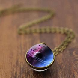 nebelfleck halskette Rabatt Hot Nebula Galaxy Doppelseitige Anhänger Halsketten Universum Planet Schmuck Glaskunst Bild Handgemachte Halskette Geschenke Hohe Qualität