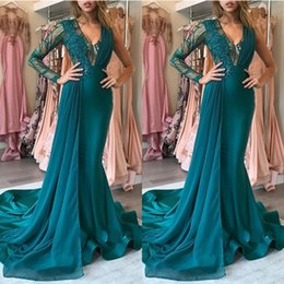 long teal evening dresses Promo Codes - Fashion New Teal Mermaid Prom Dresses Unique Shiny Lace Abiye Long V-neck One Shoulder Evening Dresses Abendkleider 2020