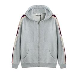 Полоса логотипа онлайн-New Grey Италия Дизайнеры Модные бренды мужские Толстовки с капюшоном с логотипом STRIPE Мужские толстовки женские Кофты мужская одежда