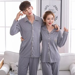 Couples 100% Cotton Pajamas Sets for Women 2019 Spring Autumn Long Sleeve  Sleepwear Cardigan Pyjama Lounge Homewear Pijama Mujer 49981a8ca