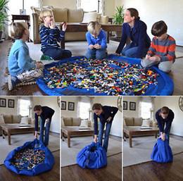 cajas de almacenamiento de juguetes para niños Rebajas 150cm portátil niños de juguete bolsa de almacenamiento y la estera del juego de LEGO juega al organizador Bin Box Nueva