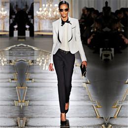 2019 frauen-hosen Frühjahr Womens Business Anzüge Schwarz Weiß Büro Uniform Designs Frauen Smoking Weibliche Hose Anzüge Formelle Kleidung Arbeit 2 Stück günstig frauen-hosen