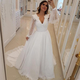 best quality retail prices good Unique Design A Line Wedding Dresses Pearls Beaded V Neck Bridal Gowns With  Long Sheer long Sleeves Sweep Train Arabic Wedding Vestidos 2019