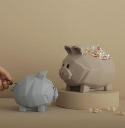 Estatuas de navidad online-Cerdo geométrico Caja de almacenamiento Estatua Animal Hucha Sala de estar Decoración Regalo de Navidad