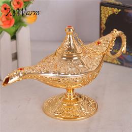 Risparmiando olio online-Kiwarm Metallo Classico Intagliato Aladdin Lampada Luce Wishing Tea Oil Pot Decorazione Collezione Da Collezione di Risparmio Regalo Artigianato Y19062704