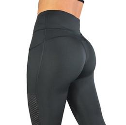 2019 подъемная сила Профессиональные штаны для йоги Бег Спорт Фитнес-зал Брюки на открытом воздухе для похудения Высокие бедра Лифт хорошая сила упругости Дыхание с дырочками Высокий Ка дешево подъемная сила