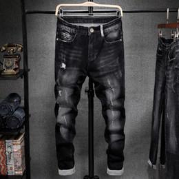 Nouveaux types pantalons pour hommes en Ligne-Jeans Hommes Automne Hiver Mode Slim-type Denim Pants 2019 New Men trou de poche Bouton Rayé Streetwear Casual Denim Trousers