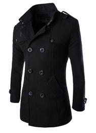 Ropa de lana británica online-Abrigos cálidos de doble botonadura británica para hombre Mezclas de lana delgada de invierno Abrigos Abrigos Ropa de moda masculina Abrigos Tops