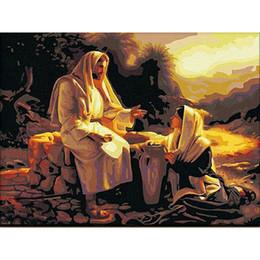 pintura a óleo jesus Desconto Pintura a óleo diy by numbers jesus missionário 50 * 40 cm / 20 * 16 polegadas na tela para kits de decoração de casa [sem moldura]