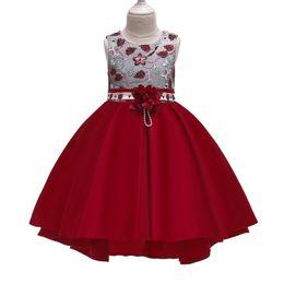 saia de arco bonito Desconto Meninas vestido bordado saia arco vestido bonito fofo cetim vestido de princesa vestido de festa