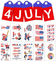 2019 drapeau américain imperméable à l'eau 5.7 * 9.7cm Étanche drapeau américain tatouage autocollant Jour de l'indépendance dessin animé enfants enfants art du corps maquillage outils 10 styles C6538 drapeau américain imperméable à l'eau pas cher