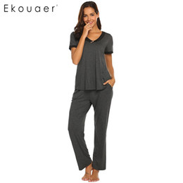 642a69db59 Ekouaer Women Pajama Sets Nightwear Short Sleeve V-Neck T-shirts Long Pants  Pyjamas Suits Ladies Sleepwear Home Clothes