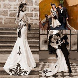 Satin corset perlage robe de mariée sirene en Ligne-Robes de mariée Vintage blanc noir sirène dentelle élégante appliques perlées corset robes de mariée robe de mariage robe de mariée jardin