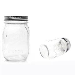 tarros de cristal blanco al por mayor Rebajas Frasco de vidrio Mason Jar Boca regular 16 oz con tapa de vidrio Botellas de almacenamiento de vidrio Frascos Tarro de ensalada de verduras y frutas W8721