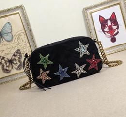 terciopelo cristal Rebajas GG 447632 Velvet Star Crystal Shoulder Bags Fashion Lady Crossbody Cadena Mensajero Pequeño Bolso, 24 * 12 * 7 CM