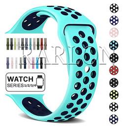 резиновые браслеты Скидка 42 мм 38 мм резиновые силиконовые отверстия петли браслет для Apple Watch ремешок полосы 40 мм 44 мм спортивный браслет для Apple iwatch серии 1 2 3 4