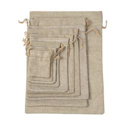 I sacchetti dei monili di iuta online-7x9 cm doppio strato alta quanlity lino naturale borse con coulisse sacchetto dei monili sacchi di iuta tela pouch pacchetto borse regalo hessian