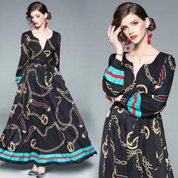 Robe imprimée à manches longues à col en V pour femmes Robe de soirée de bal 2019 Printemps Automne Maxi Dress Mode Robes de soirée rétro ? partir de fabricateur