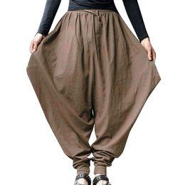 Pantalones holgados de jersey online-CALOFE Nuevo Hip Hop Baggy Wide Crotch Harem Pants Hombres Mujeres Tallas grandes Pantalón ancho Pantalones New Casual Pantalones sueltos Pantalones cruzados