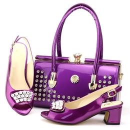 2019 dernières chaussures italiennes de couleur pourpre avec des sacs assortis pour le mariage été nigérian style femmes chaussures de mariage et sac à main ensemble ? partir de fabricateur