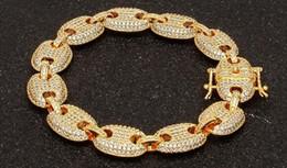 2019 armbänder mode geschäfte AAAAA Herren Iced Out Hip Hop Silber Gold-Ton CZ Gepflasterte Puffed Marine Link Kette Armband 13mm 8 Zoll Multicolor