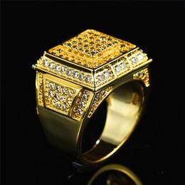 большие каменные кольца для мужчин Скидка Gorgeous Male Female Big Finger Ring  Full Pave Crystal Zircon Stone Ring Yellow Gold Men Women Wedding Engagement Rings