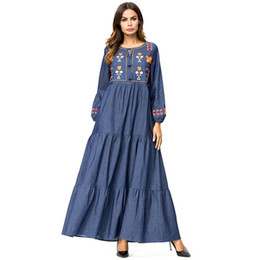 Ethnic Floral Embroidery Denim long dress Fashion Patchwork Draped Design  Casual Swing Dresses Maxi Spring 2019 fdad5a474f85