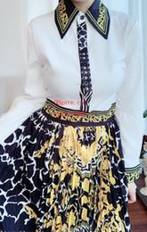 Maxi vestidos de marca online-2019 marca mujer vestidos de verano Costura de impresión vestidos maxi Retro solapa Manga larga mujer monos mamelucos color de contraste Falda de las señoras