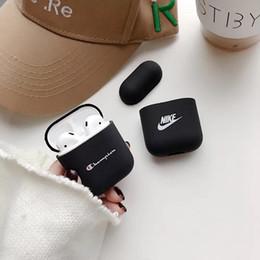Sac bluetooth en Ligne-Sac de protection en silicone de sport imprimé lettre de résistance aux chocs pour Airpod Bluetooth Ecouteur Sac de rangement anti-dérapant 2 en 1