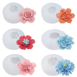 handmade cake flowers Promo Codes - Silicone Mold Rose 3D Flower Chocolate Fondant Cake Decoration Candy Baking Aromatherapy handmade soap ice Moulds