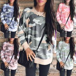 mulheres caem blusas Desconto Nova Chegada 2019 Outono Inverno Mulheres Camiseta Moda Imprimir Em Torno Do Pescoço de Manga Comprida Camuflagem Blusa Roupas Femme 6211