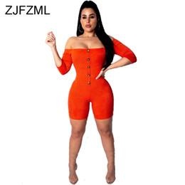 2019 tuta arancione Off Shoulder Sexy Short Playsuit Donna Slash Neck manica lunga Skinny One Piece Overall Casual Backless arancione Button Up Tuta tuta arancione economici