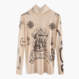 sexy m tattoos Promo Codes - Print Russian New Male Female Senior Couple Basal Goddess Tattoo Vintage Tights Sexy Shirt Elastic Fence FZ0434