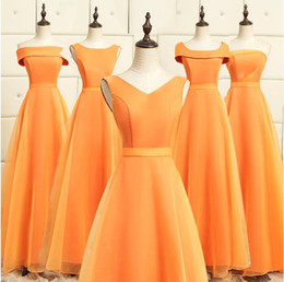 Laranja casamento dama de honra vestidos baratos on-line-Orange Bridesmaid Dresses Até o Chão Plissado Organza Vestido de Festa de Casamento Barato Com Decote Em V Vestido de Festa de Baile A Linha de vestido de Dama de honra