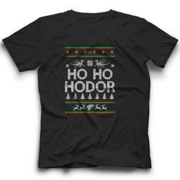 Новые некрасивые рождественские свитера онлайн-Хо-хо Ходор футболка Игра престолов Уродливый свитер Рождество тройник новый смешной бесплатная доставка мужская повседневная футболка топ